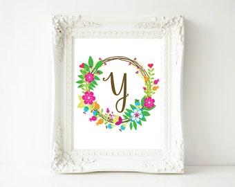"Monogram printable art, Letter Y, 8x10 Printable Wall Art, ""Y"" Monogram Initial, Nursery Art, Home Art, Dorm room art"