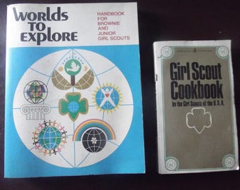 vintage Girl Scout Handbook, and  GS cookbook.