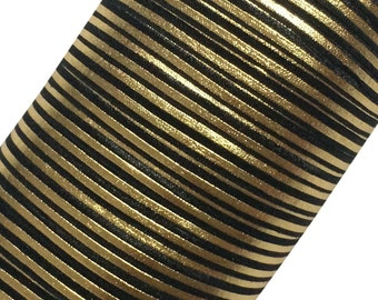 """Black with Gold Stripes 5/8"""" Fold Over Elastic by the Yard - 1, 3 or 5 yards"""