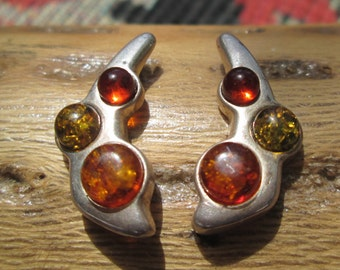 Amber and Sterling Silver Post Earrings
