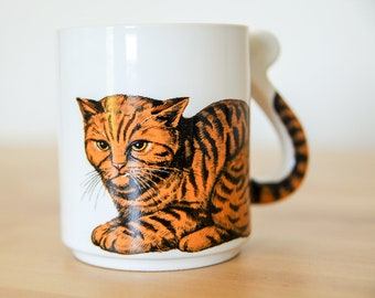 Orange Tabby Mug • Angry Ginger Cat • Pissed Off Mad • 3D Tail Handle • Ceramic Coffee Cup • Funny Humor Gift • Kawaii Grumpy Striped Animal