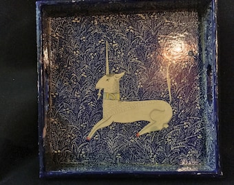 Square Hand Painted Unicorn Tray