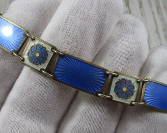 David Andersen Enamel Norway Bracelet Sterling Silver Flower Blue & White Enameling Vintage 16.3 Grams
