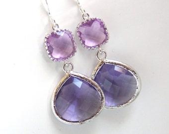 Purple Earrings, Dangle, Lavender, Lilac, Violet, Drop, Silver, Wedding Jewelry, Bridesmaid Earrings, Bridal Jewelry, Bridesmaid Gift