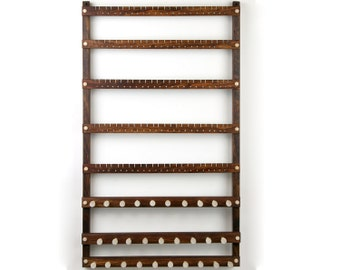 120 Pair Wall Mount Jewelry Organizer - Earring Organizer, Caribbean Rosewood, Necklace Display. 29 pegs.  Hanging. Jewelry Display