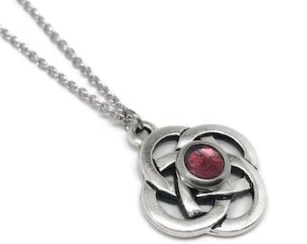 Celtic Knot Necklace, Love Jewelry, Dark Red, Resin Jewelry, Customizable Color, Irish Pendant
