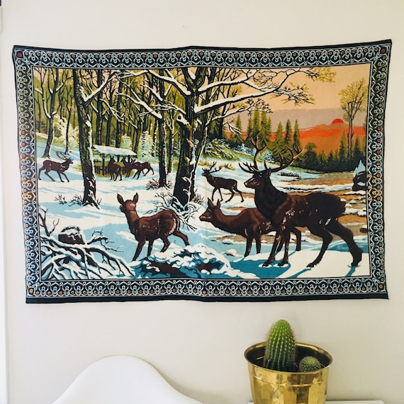 Vintage Deer Tapestry Large Turkish Brushed Cotton Winter Forest Landscape Hanging Wall Art Sunset Deer Tapestry Made in Turkey