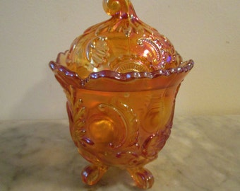 Imperial Glass Candy Dish, Lidded, Marigold, 1951-1972 IG markings, Footed, Vintage Candy Dish