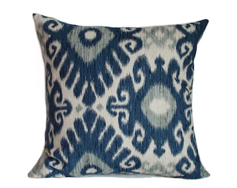 Blue pillows, 12x20, 16x16, 18x18, 20x20, 22x22, 24x24. 26x26, Pillow covers, Throw pillow, Ikat pillow, Toss pillows, Couch pillows, Shams