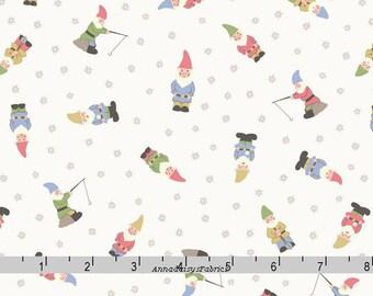 Garden Gnomes Fabric, Lewis & Irene Grandma's Garden A199 1, Garden Gnomes on Off White, Mini Gnomes Quilt Fabric, Cotton Yardage
