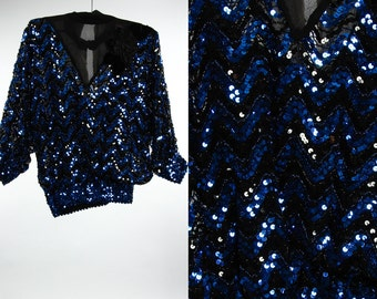 Vintage Blue Sequin Blouse | Black & Royal Cobalt Blue Sparkly Sheer Top | 1970s 80s Silk Flower Shirt | Chevron Made in USA 6AA