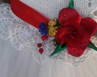 Flower White Tutu Dress crochet tutu dress Birthday fluffy spring Dress Ukraine Wedding Dress  tulle dress crochet gowns nice long dress