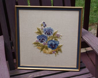 Pretty Vintage Hand Embroidered Framed Picture Of Flowers