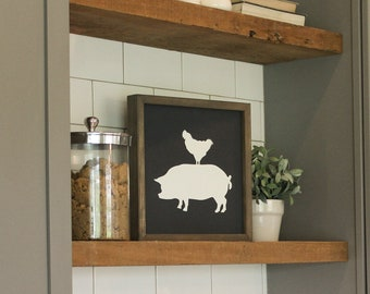 Rustic Stacked Farm Animal Sign Chicken Pig