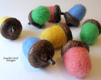 Felted Wool Acorns, Set of 6, Spring Pastels, Easter Decor, Acorn Caps, Made to Order