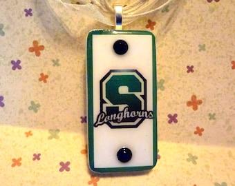 Stonewall Longhorns Team Spirit Pendant   Domino Jewelry Repurposed Game Tile  item 334