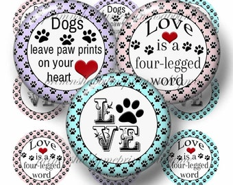 Dogs, Sayings, Bottle Cap Images, Instant Download, Printable, Digital Collage Sheet, 1 Inch Circles, Pets, Dogs, Magnets, Cabochons, Crafts