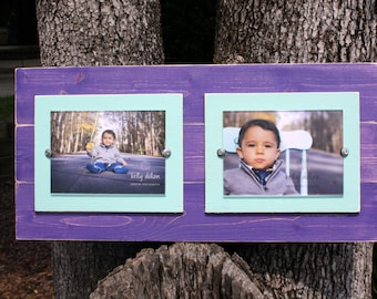 Double 5x7 Picture Frame, Plank Picture Frame,Distressed Frames, Purple Frame