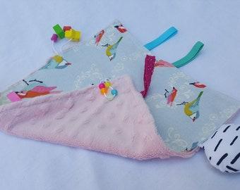 Baby Doudou - little label blanket- ribbon tag - PINK BIRDS