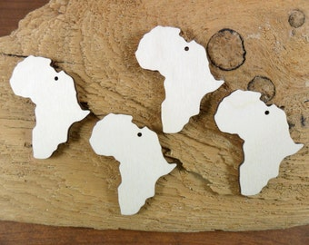 """Africa Wood Earring Shapes With Hole Laser Cut Jewelry Blanks Select Size 1"""" or 2"""" - 24 Pieces"""