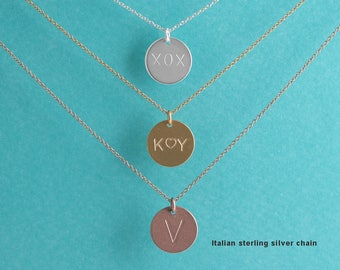 Initial Disc Necklace, Personalized Tag Necklace, Monogram necklace, Gift For Her, Bridesmaid Gift, Birthday Gift,
