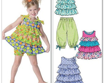 GIRLS CLOTHES PATTERN / Boutique Style / Capri Pants - Shorts - Top - Dress In Sizes 1 To 3 or 4 To 6