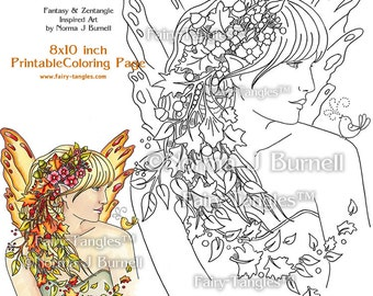 Autumn Fairy Printable Digital Coloring book Sheets Norma J Burnell Fairies Coloring Book Pages Coloring for Grownups Adult Coloring sheet