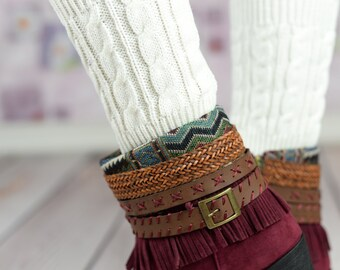 White Wheat Boot Cuffs