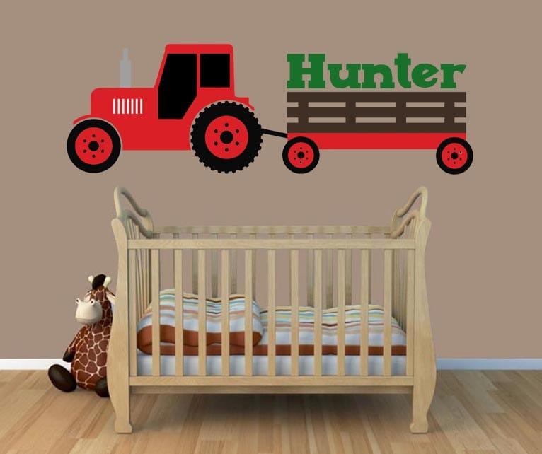 Farmall Wall Decals : Tractor wall decal red boys bedroom