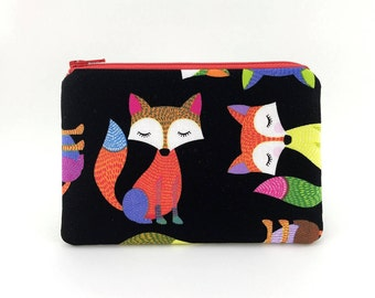 Fox Coin Purse - Small Wallet - Red Orange Zipper Pouch - Gift ideas - Padded Pouch - Change Purse - Fox Wallet