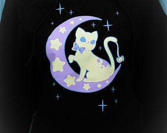 Moonlight Kitty Crescent Moon and Stars Hoodie Sweatshirt Kawaii Fairy Kei Pastel Goth