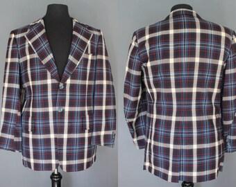70's Men's Plaid Jacket    70's Men's Plaid Sports Coat men's 70's Plaid Blazer