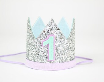 Mermaid Birthday Party Crown | First Birthday Crown Girl Photo Prop Headband of Glitter and Felt | Silver + Purple + Mint + Blue 1