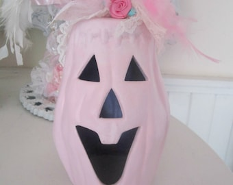 Shabby Chic Pink Pumpkin Rose Fall Halloween Decor Pale KidsFrom Shabbysweets