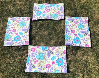 Placemats - Blue Spring Flowers Quilted Placemat Set of 4 - #PS-17