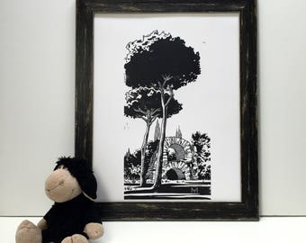 Original engraving hand-print. The Roman Forum. Roma, Italy. Linocut Print. Ink print
