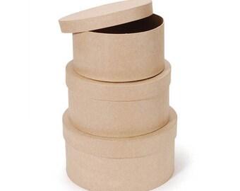 "Paper Mache Boxes -  Round - Set of 3 -  8"" 9"" & 10"""