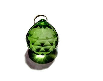 One 30mm Spring Green Crystal Ball, Faceted Crystal Prism Ball, Sun Catcher, Wind Chime Crystal, 30mm Crystal Ball