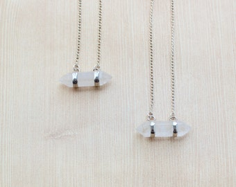 SALE! Horizontal Double Point Crystal Quartz Pendant Necklace in Silver