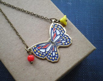 Vintage Enamel Butterfly Charm Necklace - Retro Cloisonne Insect & Glass Bead Pendant - Butterfly Garden Yellow Flower Jewelry Gift For Her