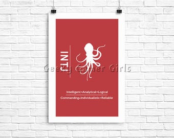 INTJ Minimalist Poster | Myers Briggs Poster | Personality Type Poster 11x17 | MBTI
