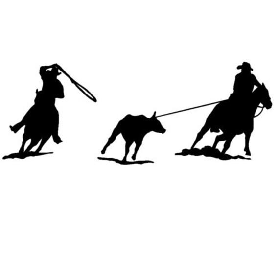 horse trailer horse team roping decal vinyl wall art rh etsy com Team Roping Silhouette team roping clipart