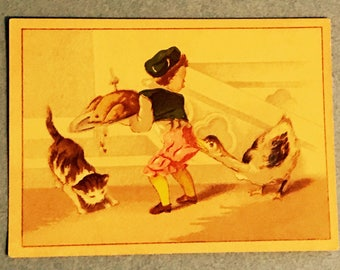 Victorian Trade Card 1800s, Little Boy With Goose And Kitten, Chas M Clarke Cast Off Clothing, A Wonderful Card