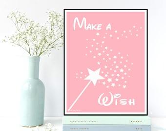 Make a wish, Nursery girl decor, Children poster, Nursery poster, Nursery quote art print, Child room decor, Baby children gift, Art print