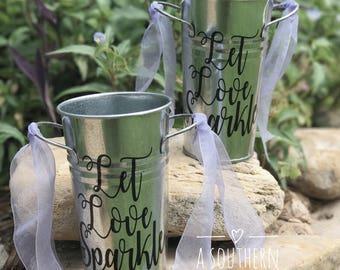 "Wedding Decor ""Let Love Sparkle"" Sparklers Galvanized Buckets for Wedding Reception-Set of 2"