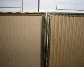 Vintage: Brass Picture Frames W/Glass and Easel Matching Pair