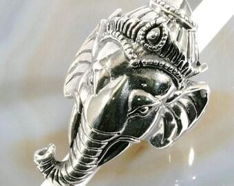 Ganesh, elephant 925 sterling silver ring-Ganesha, elephant 925 sterling silver ring--4034