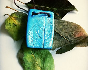 Blueberry Leaf Imprint Polymer Clay  Necklace