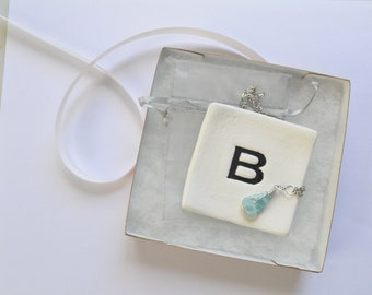 Larimar and Personalized Ring Dish Gift Set; Gift for her; Bridesmaids GIft; Christmas Gift