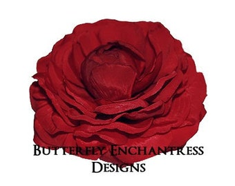 Red Hair Flower, Bridesmaid Gift, Wedding Accessories - Crimson Radellyn Camellia Bridal Hair Flower Clip